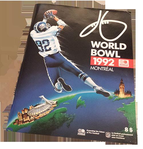 Cahier souvenir du World Bowl 1992 au Stade Olympique.