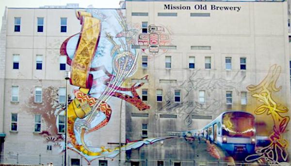 Murale sur le mur de la Old Brewery Mission.