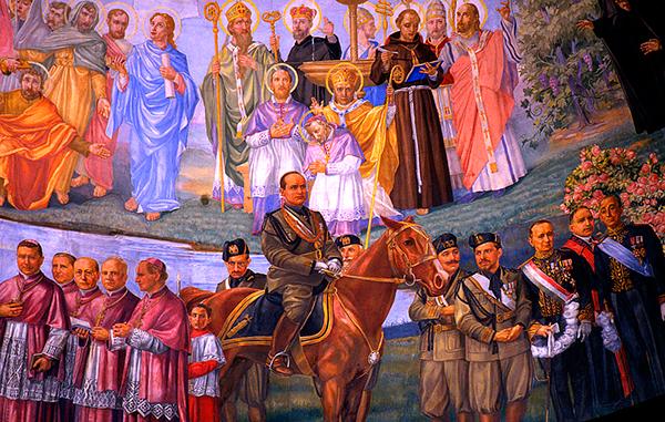 Mussolini à Cheval avec Pape Pie XI