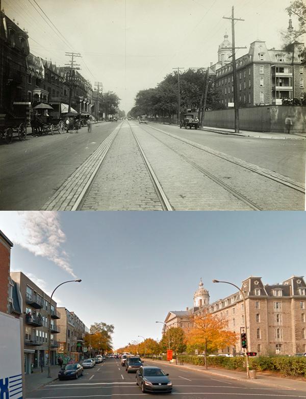 Avant-Après  de St-Denis vers le nord de la Rue Cherrier