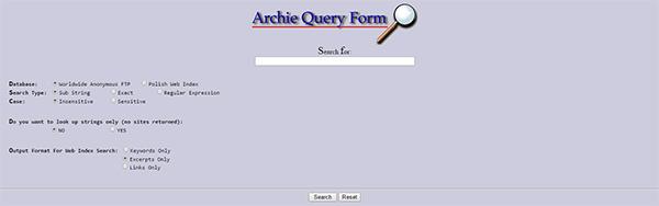 Interface de l'outils de recherche Archie.