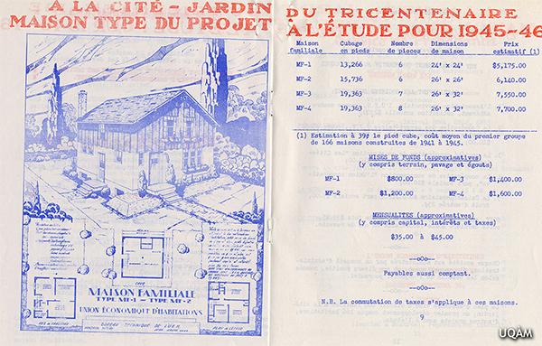 La Cité jardin du tricentenaire de l'Union économique d'habitations. 1945. Source : Université du Québec à Montréal. Service des archives et de gestion des documents, Fonds d'archives de l'Union économique d'habitations, 72P9a/2.
