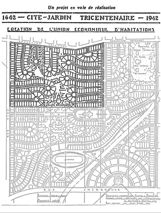 Le plan original versus ce qui a été construit entre 1941 et 1947.