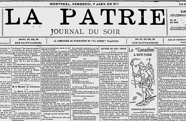 Édition du 7 janvier 1887, La Patrie de Montréal.