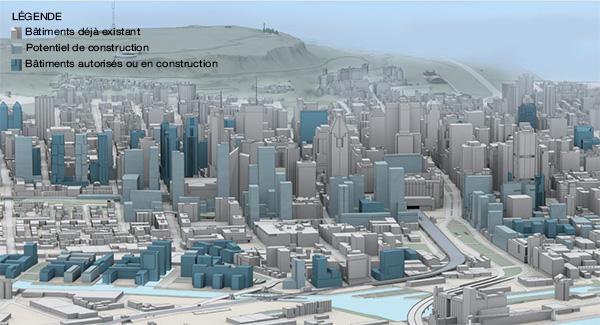 à l'arrière, le mont Royal?; au milieu, les édifices du centre-ville?; à l'avant-plan, le front d'édifices à construire dans le Quartier des gares et ses abords immédiats