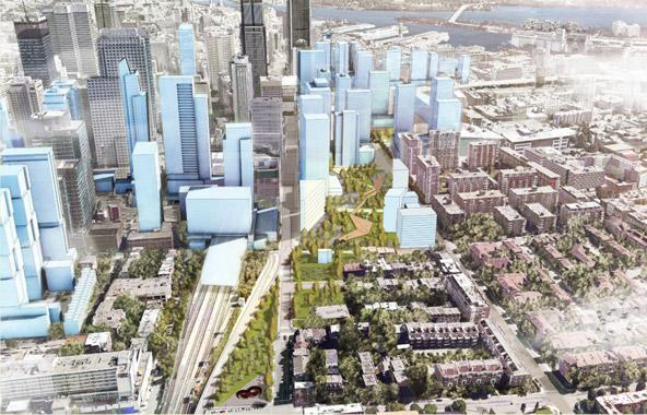 Les bâtiments en bleus sont en construction ou prévus pour le Quartier des Gares