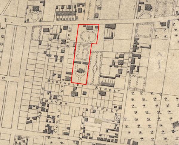 Les Jardins Blinkbonny en rouge. Carte de Montréal 1846