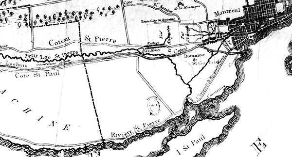 Carte de Montréal datant de 1834 démontrant l'emplacement de la piste de Verdun.