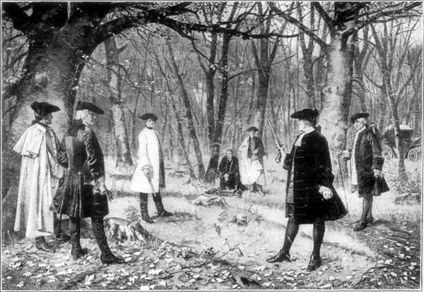 Image représentant un des duels les plus connus de l'histoire américaine entre les politiciens Hamilton et Burr.