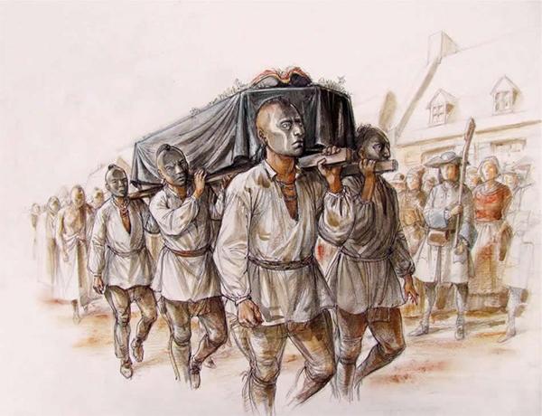 La mort de Kondiaronk. Crédits: Images  Pointe-à-Callière et illustration par Francis Bach.