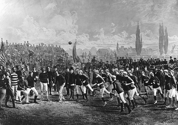 Match de football, Harvard contre McGill en 1875. Photo: Musée McCord, II-21494