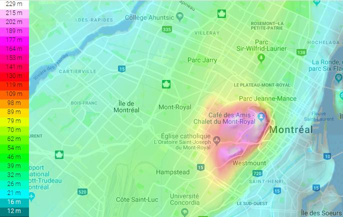 Carte Topographique autour du Mont-Royal