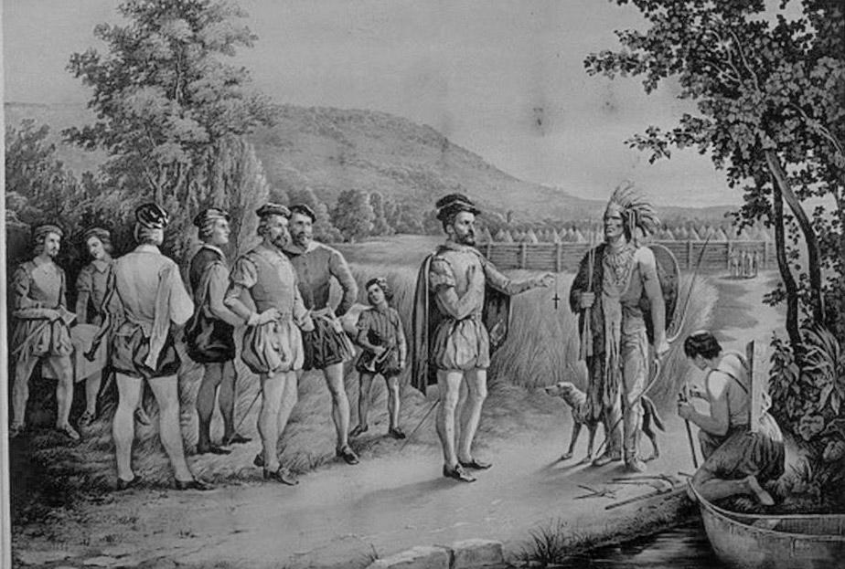 Jacques Cartier visitant à Hochelaga