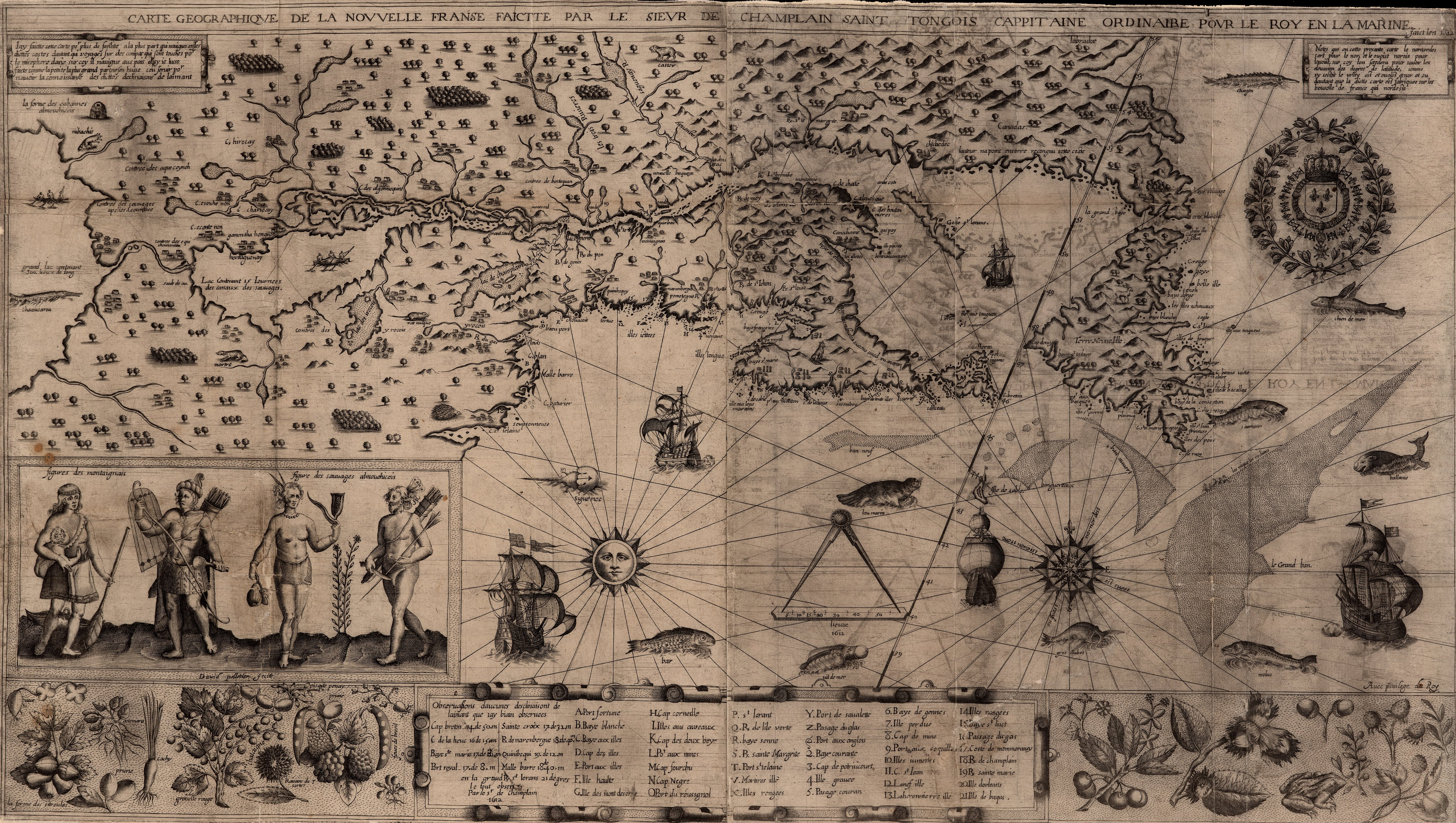 Carte de la Nouvelle France par Samuel de Champlain, 1612
