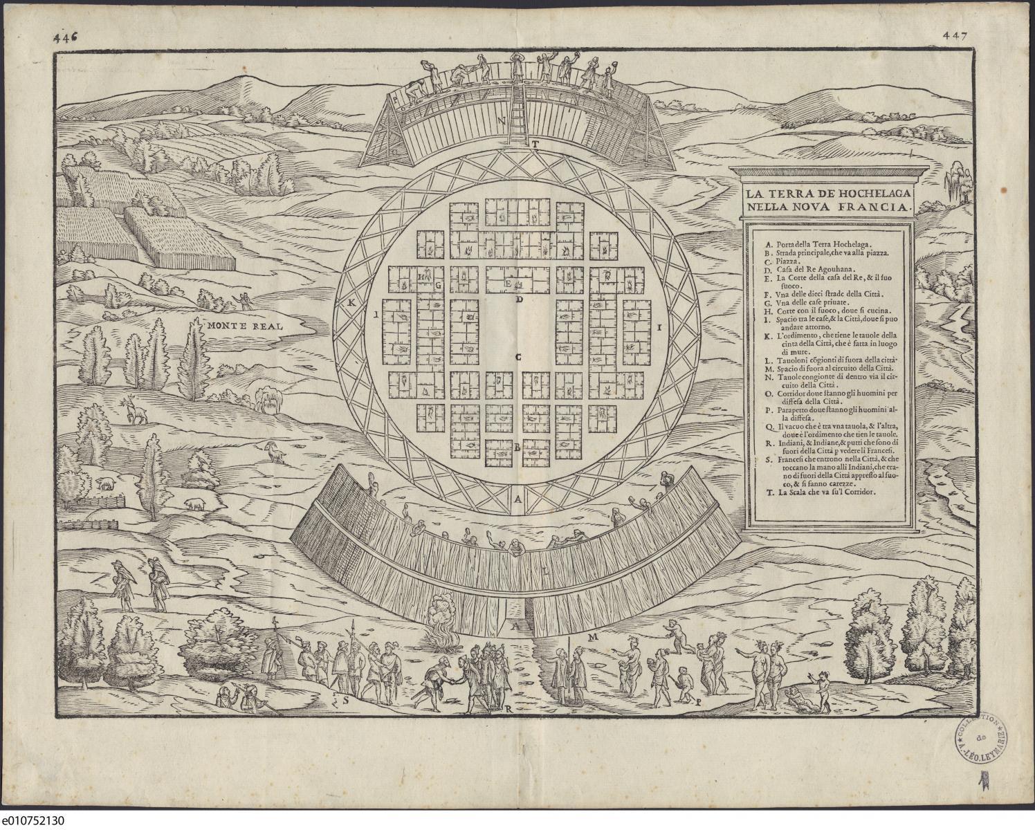 Ce plan figuratif de Gian Baptista Ramusio présente la bourgade d'Hochelaga selon les instructions de Jacques Cartier.