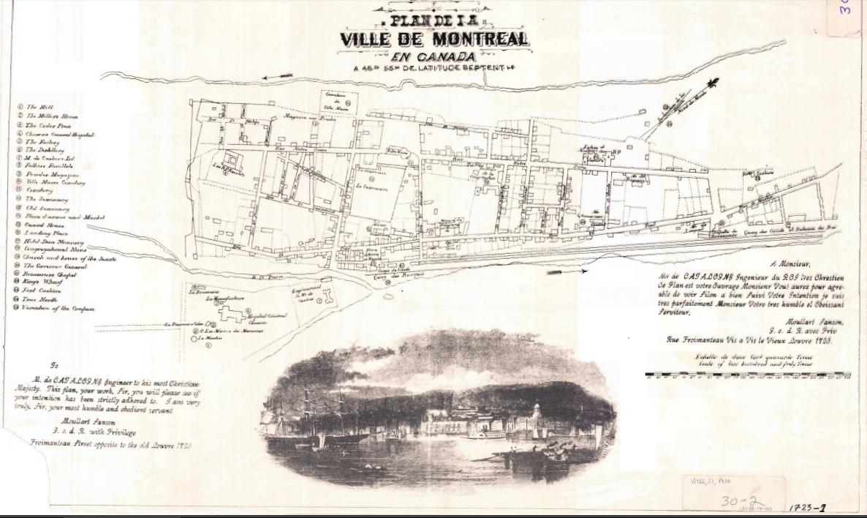 Plan de la ville de Montréal en Canada 1723,