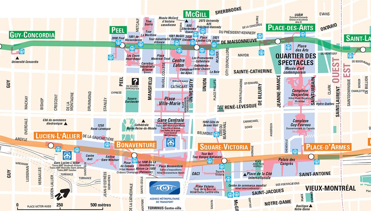 Carte du Montréal souterrain.