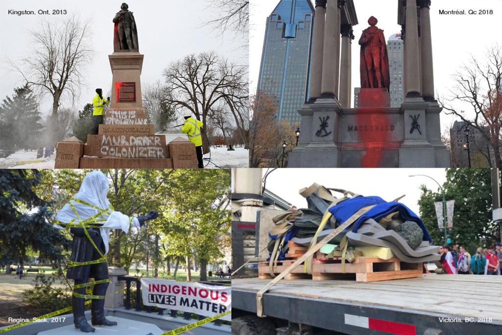 Photos des différents monuments à John A Macdonald vandalisés
