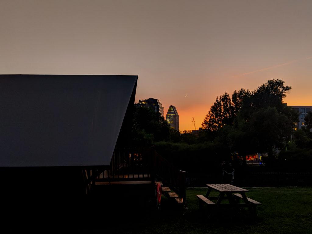Couché de soleil sur le Camping