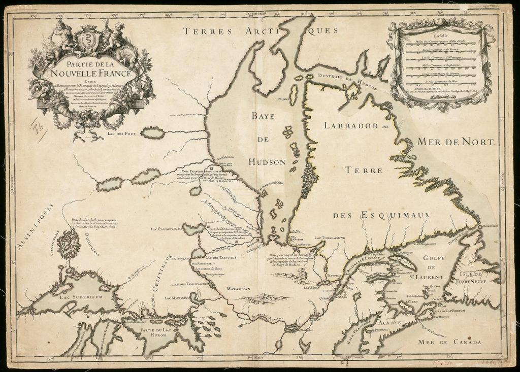 Carte montrant les différents postes établis par les Français, 1685