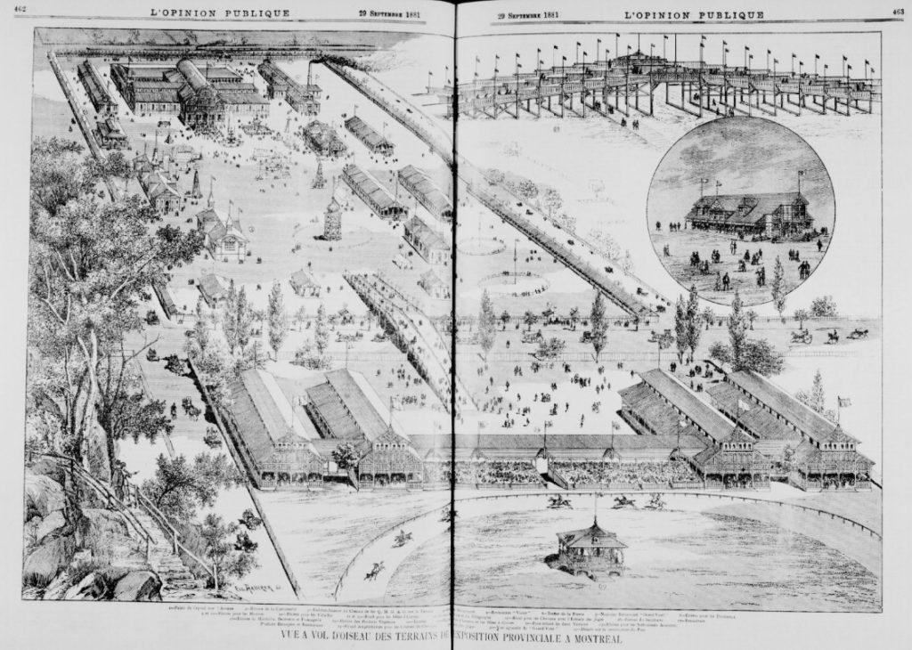 Vue à vol d'oiseau des terrains de l'Exposition provinciale de 1881