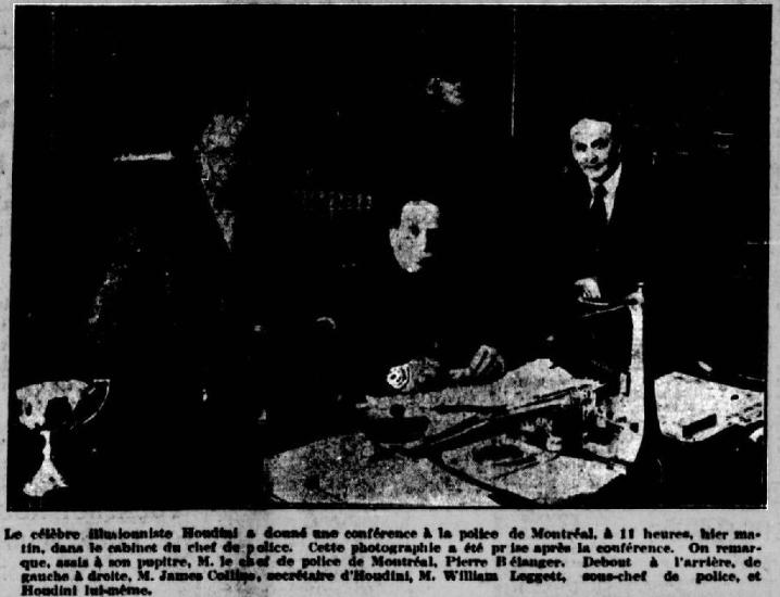 Houdini avec le chef de police Pierre Bélanger en 1926