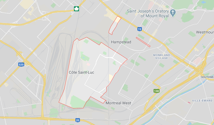 Ville de Côte-Saint-Luc vu sur Google Map