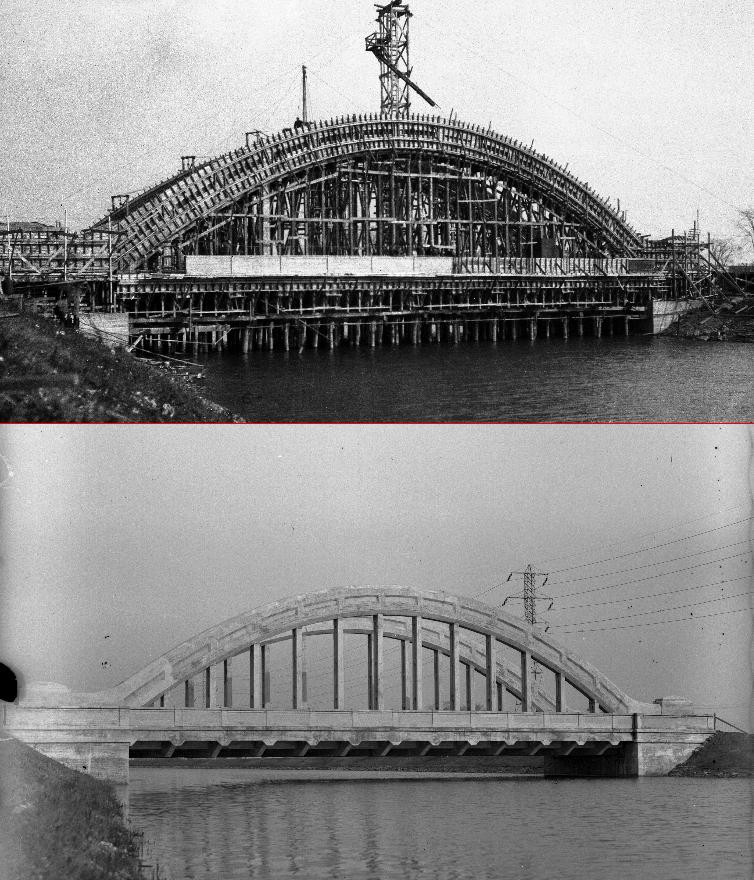 Le pont Jolicoeur en construction au dessus de l'aqueduc