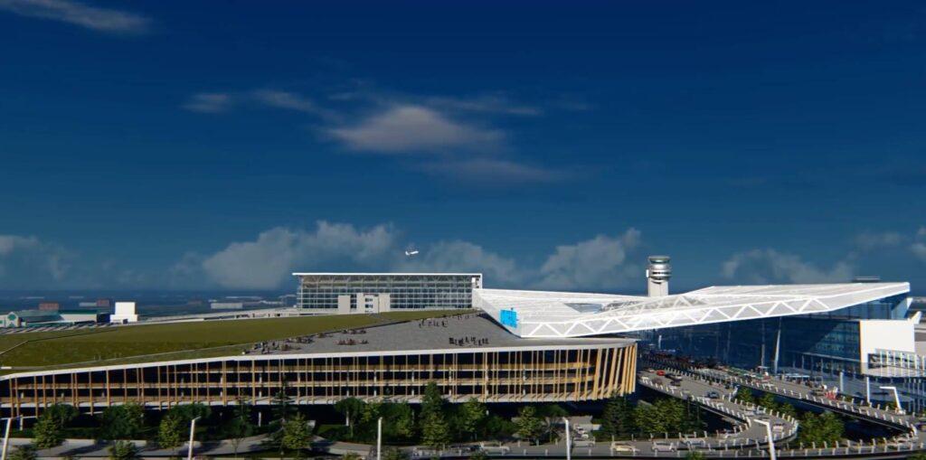 Maquette de l'aéroport Montréal-Trudeau après les rénovations à venir.