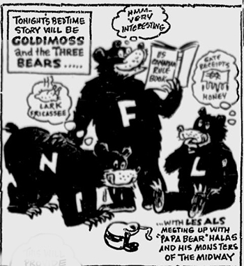 Caricature 5 Août 1961, avant-match Bears vs Alouettes