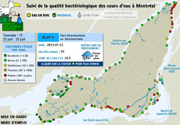 Carte de la qualité de l'eau de Montréal