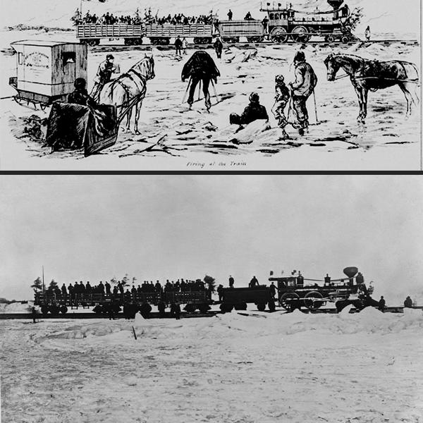 Haut: Gravure montrant le Photographe William Notman prenant un cliché du train sur la glace. Bas: la photographie en question