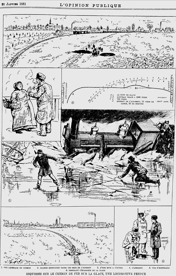 La page illustrée du journal L'opinion Publique relatant de l'incident du 5 janvier 1881
