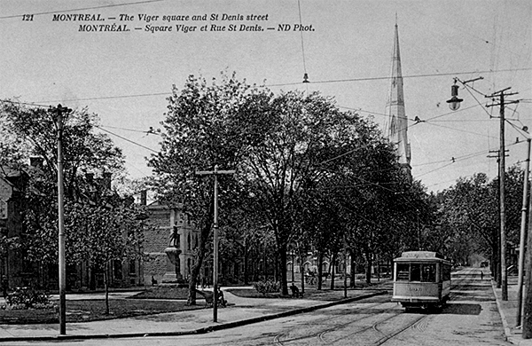 Vue de la rue St-Denis vers le nord de l'avenue Viger.