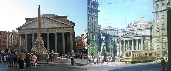 Rome à gauche,  Montréal à droite