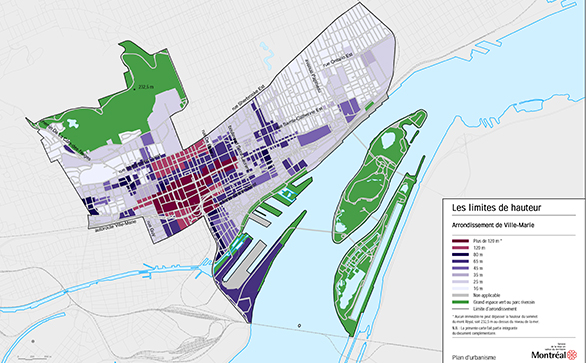Plan des hauteurs limites de Ville-Marie