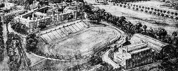 Stade Mémorial Percival-Molson,  Gravure de 1913.