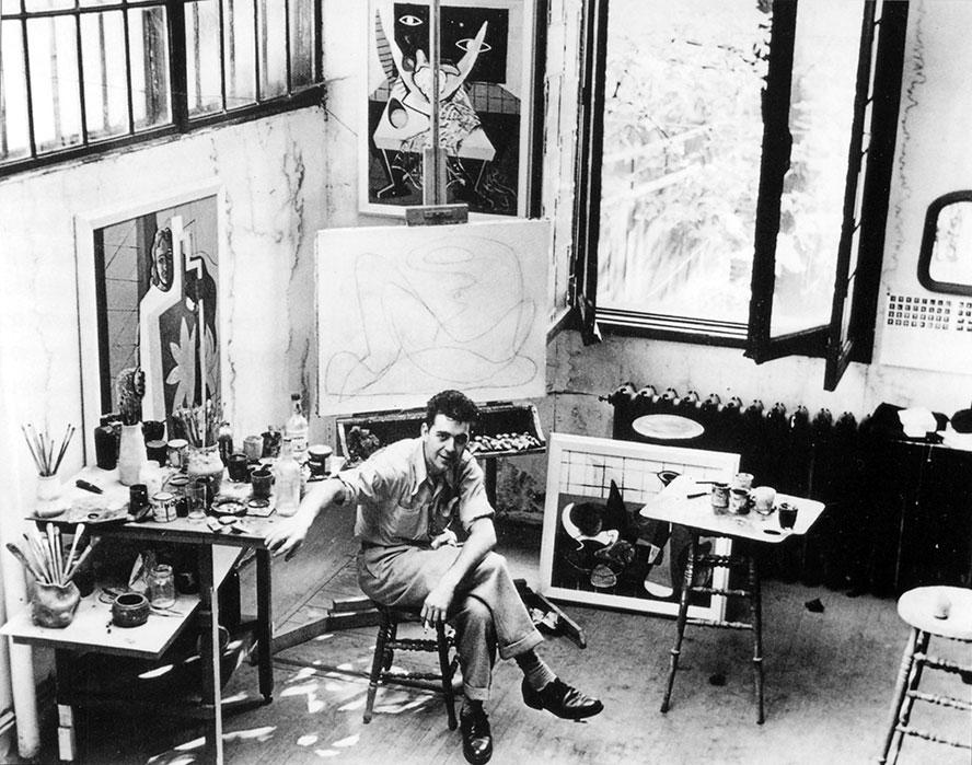 Charles Daudelin dans l'atelier Ernest Cormier