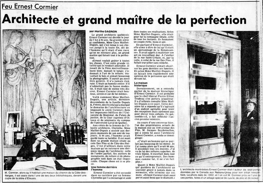 Parution du décès de Cormier dans l'édition de La Presse, le 3 janvier 1980.