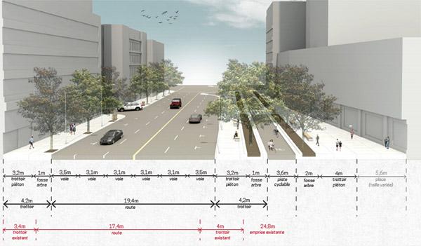 Proposition d'aménagement de la rue Saint-Jacques, entre les rues Peel et Jean-D'Estrées