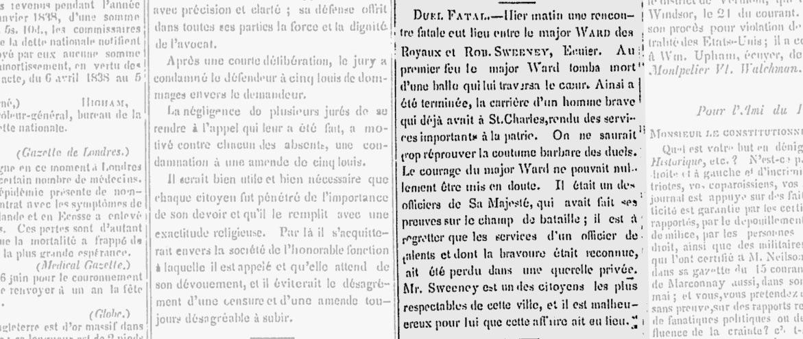 Manchette parue dans l'Ami du Peuple le 23 mai 1838