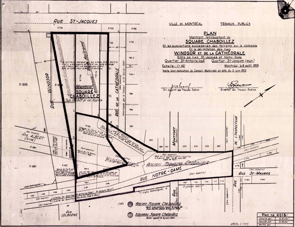 Le plan du déménagement du square Chaboillez.