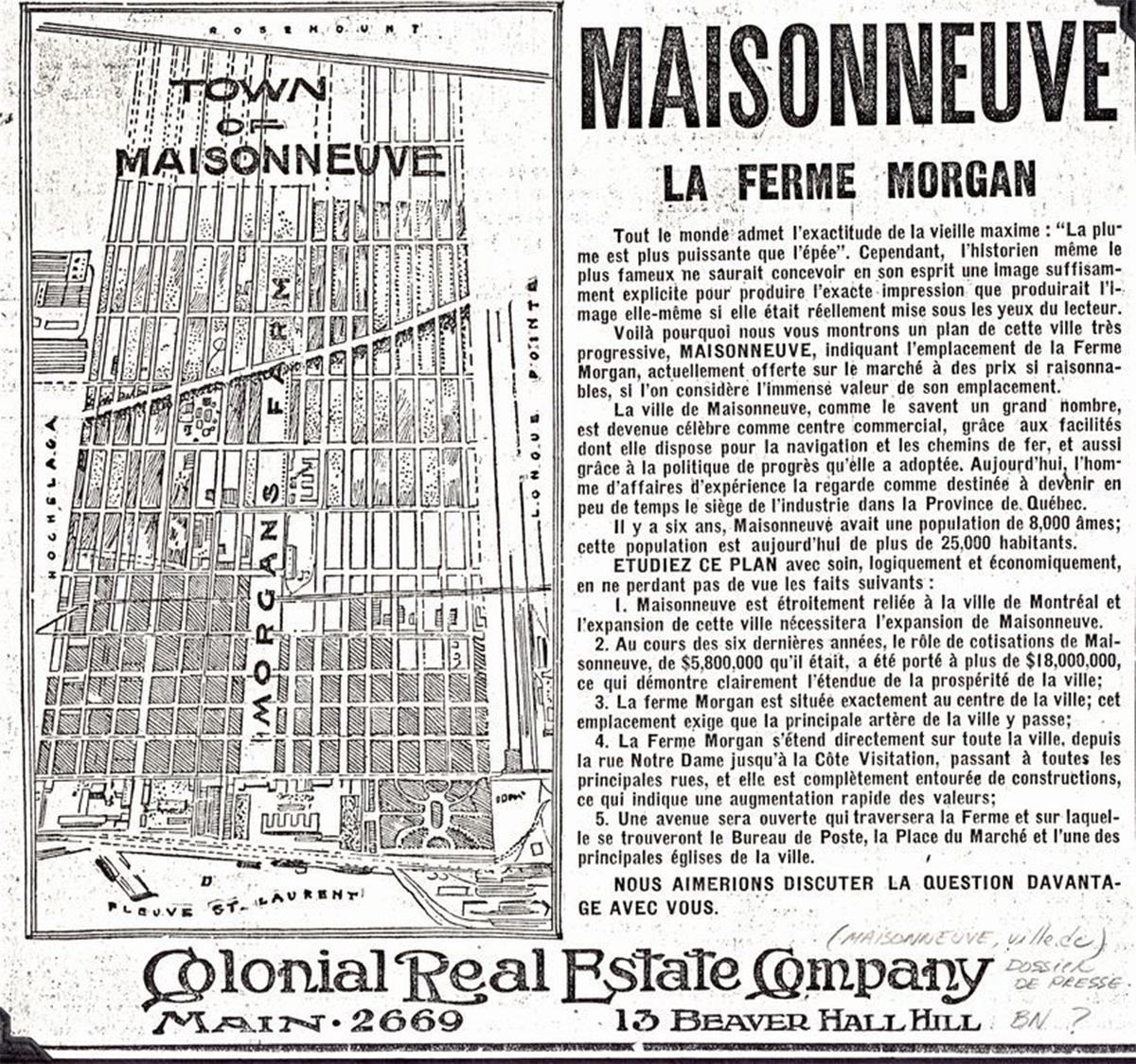Publicité de la nouvelle ville de Maisonneuve