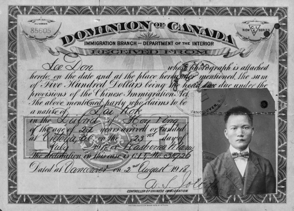 Certificat d'immigrant chinois ayant payé 500$ en 1918.
