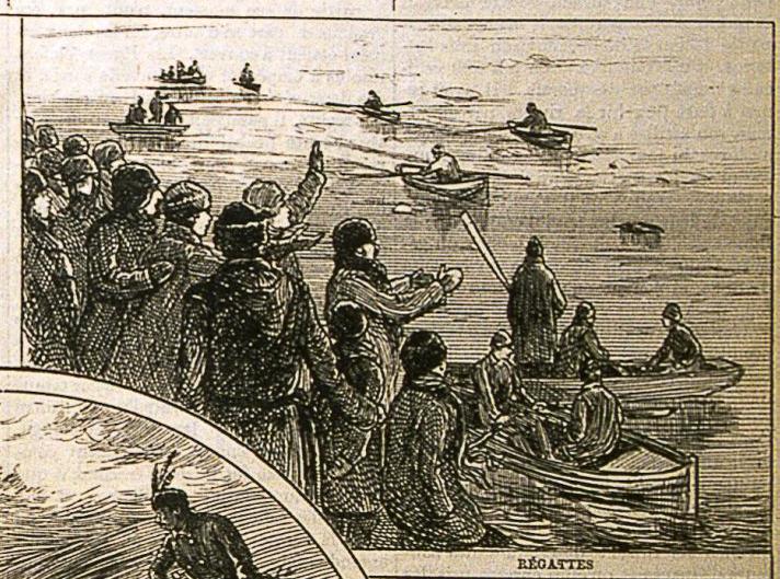 Joe Vincent (Au centre) encourageant les participants à une course de chaloupes.