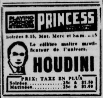 Publicité du spectacle d'Houdini au Princess