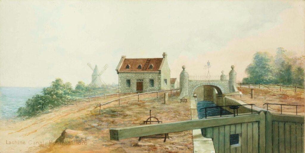 La première écluse de Lachine à son ouverture en 1825.