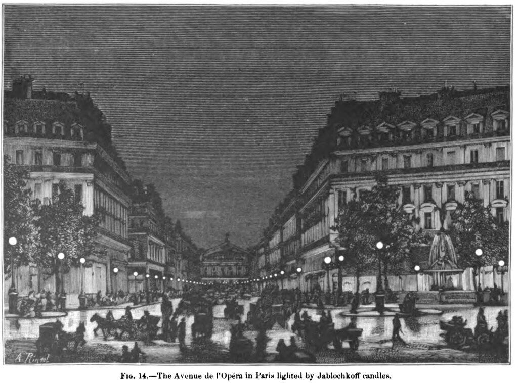 Gravure publié en 1884 de l'avenue de l'Opéra.
