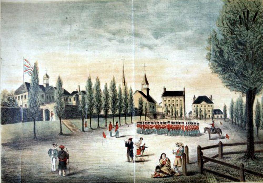 Manœuvres militaires en 1830 sur le  Champ-de-Mars avec le musée de Géologie en arrière plan