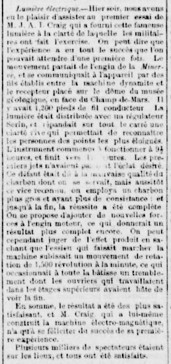 Coupure du quotidien La Minerve, édition du 17 mai 1879